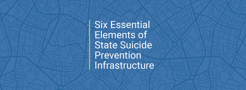 graphic that says Six Essential Elements of State Suicide Prevention Infrastructure