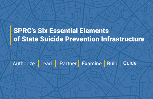 graphic that says SPRC's six essential elements of stat suicide prevention infrastructure: authorize lead partner examine build guide