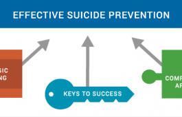 Graphic indicating that effective suicide prevention has three parts: comprehensive approach, strategic planning, and keys to success